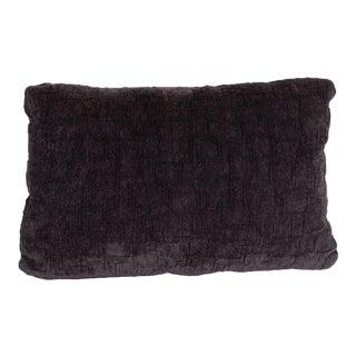 Custom Handmade Gaufraged Velvet Rectangular Pillow in a Smoked Amethyst Hue For Sale