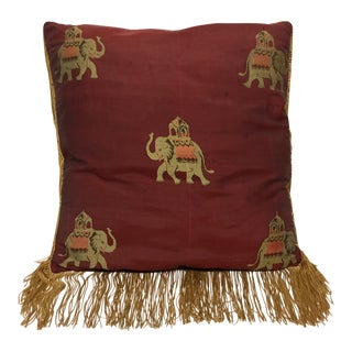 Vintage Burgundy Silk Elephant Pillow For Sale