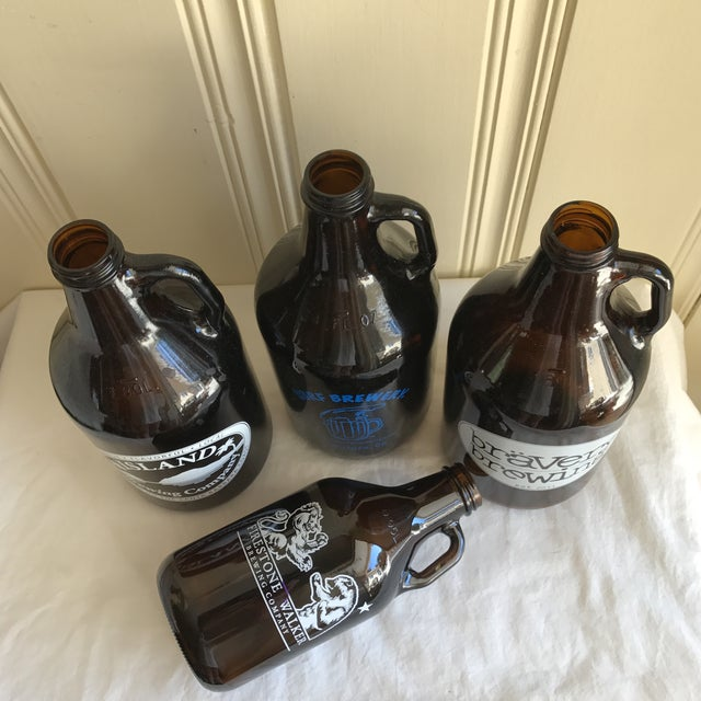 Mid-Century Modern Retro Brown Glass Brewery Jugs - Set of Four For Sale - Image 3 of 10
