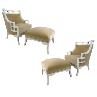 "Pair of ""Wallis Simpson"" Lounge Chairs with Ottomans by Jay Spectre For Sale"