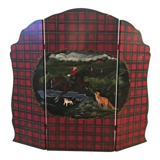English Hand-Painted Fox Hunt Wooden Fireplace Screen