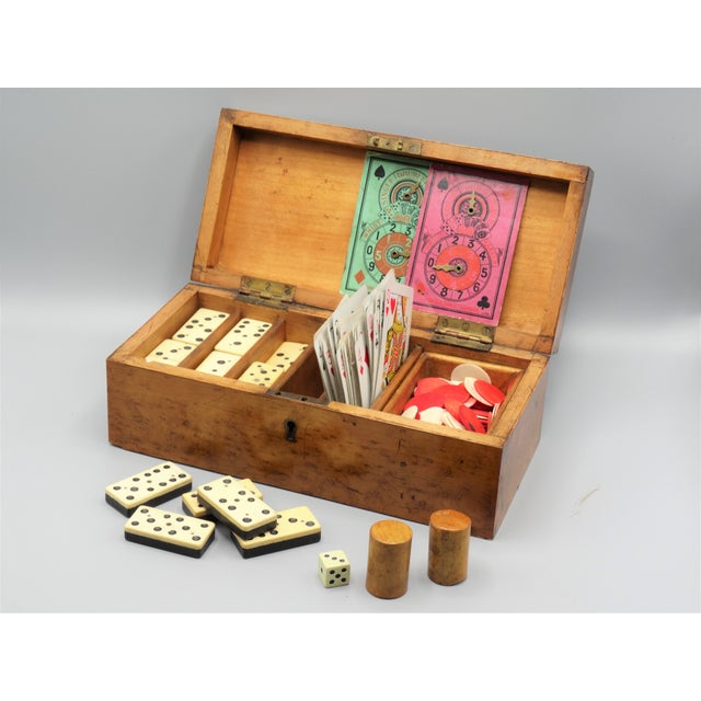 Antique Birds Eye Maple Games Box & Contents For Sale - Image 9 of 9
