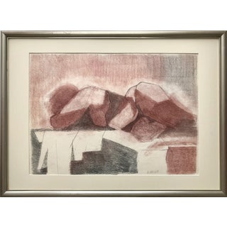 Vintage Figural Abstract Cubist Nude Drawing by D. Nevitt For Sale
