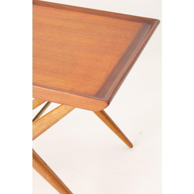 Teak Walnut MCM Side Table Woven Magazine Basket - Image 7 of 11