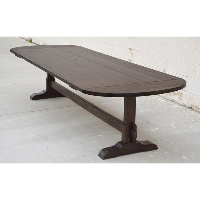 Country Racetrack Trestle Table Made From Reclaimed Pine For Sale - Image 10 of 11