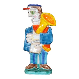 Italian Desimone Hand Painted Art Pottery Special Order Tuba Player Figure Italy For Sale