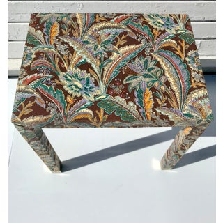 1960s Hollywood Regency Upholstered Parsons End Table Preview
