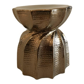 Contemporary Made Goods Bea Ceramic Gold Twisted Stool