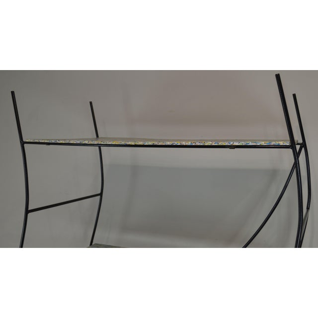 Metal Whimsical Mid Century Modern Iron Etagere Display Rack For Sale - Image 7 of 12