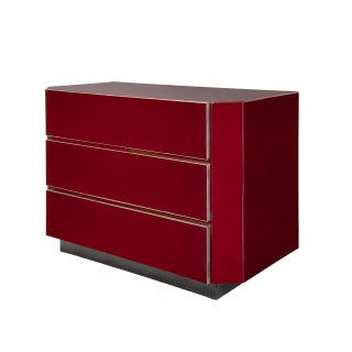 Guy Lefevre for Jansen Burgundy Lacquered and Gilt-Brass Mounted Three-Drawer Chest Preview