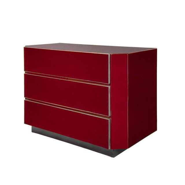 A Very Rare Burgundy Lacquered and Gilt-Brass Mounted Three-Drawer Chest, by Guy Lefevre for Jansen.
