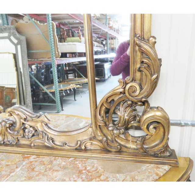 Gold Italian Style Figural Gilt Carved & Marble Console &Mirror For Sale - Image 8 of 10