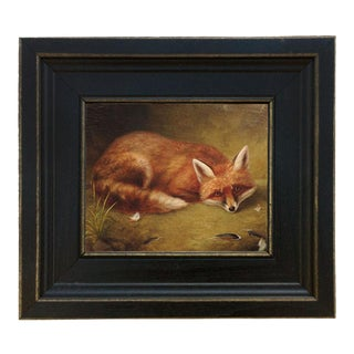 Folk Art Oil Painting Reproduction on Canvas of Fox's Meal in Distressed Black Solid Ash Frame For Sale