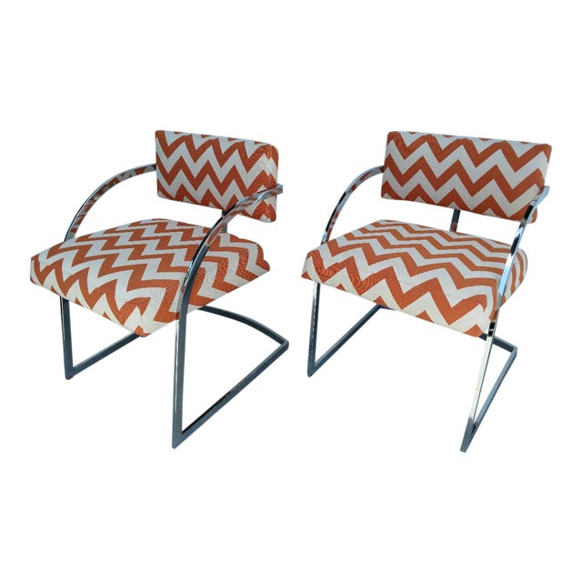 Milo Baughman Newly Upholstered Chrome Armchairs, Vintage - Pair For Sale