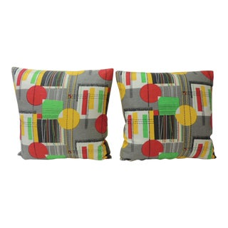 Pair of Square Vintage Barkcloth Textile With Contemporary Pattern Throw Pillows For Sale
