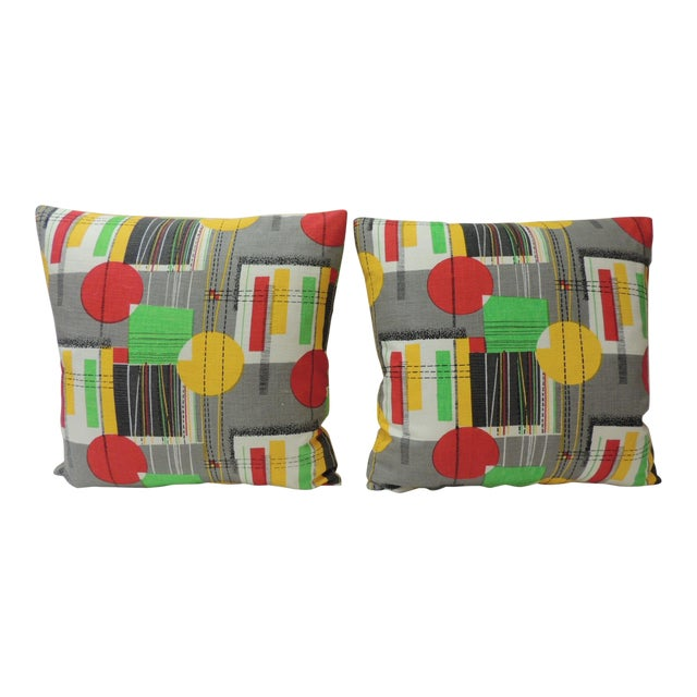 Pair of Square Vintage Barkcloth Textile With Contemporary Pattern Throw  Pillows