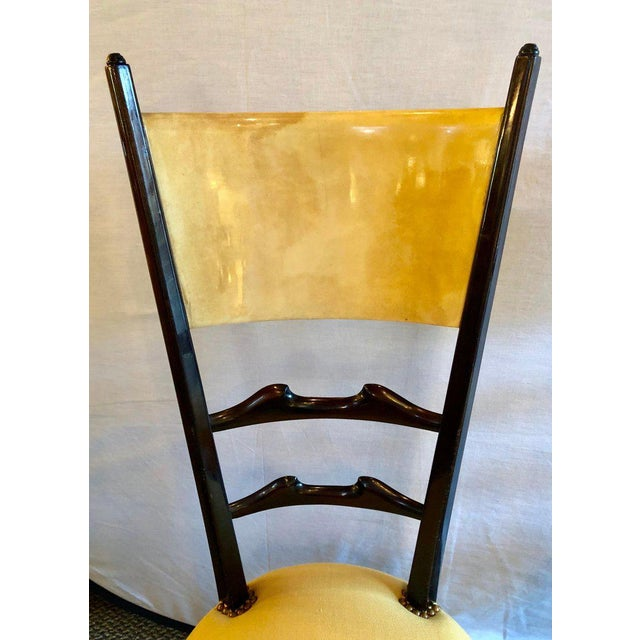 Mid 20th Century Set of Six Italian Aldo Tura Side Dining Chairs in Goatskin and Parchment For Sale - Image 5 of 13
