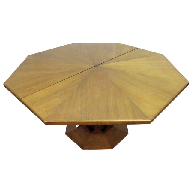 Octagon Shaped Pedestal Dining Room Table Chairish - Octagon shaped dining table