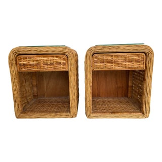 Mid Century Modern Palm Beach Chic Natural Wicker Side Tables - a Pair For Sale