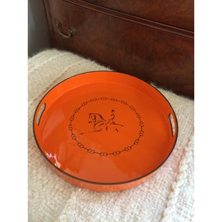 Equestrian Motif Hermes Style Orange Lacquered Serving Bar Tray Preview
