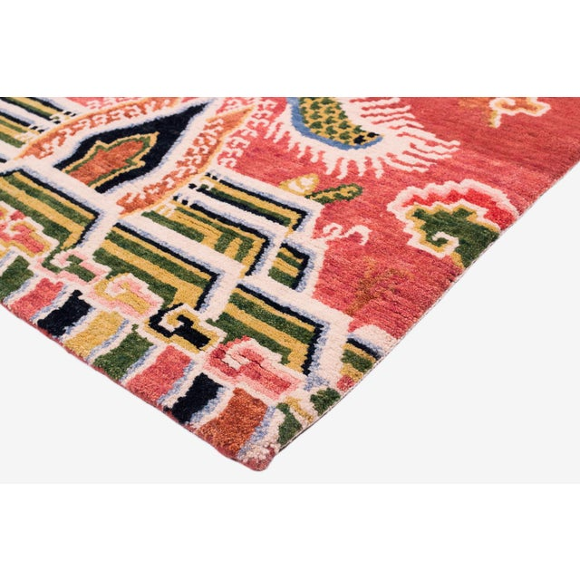 Textile Salmon Pink, Red, Green, and Blue Wool Tibetan Dragon Area Rug For Sale - Image 7 of 8