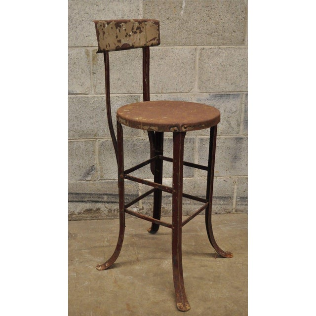 Antique Steel Metal Industrial Drafting Architect Work Stool For Sale - Image 12 of 12