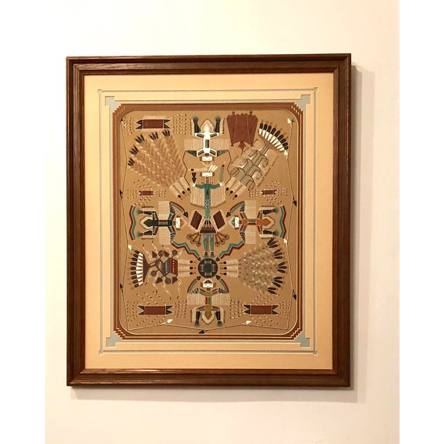 New Mexico Navajo Sand Painting by Rosabelle Ben For Sale - Image 11 of 11