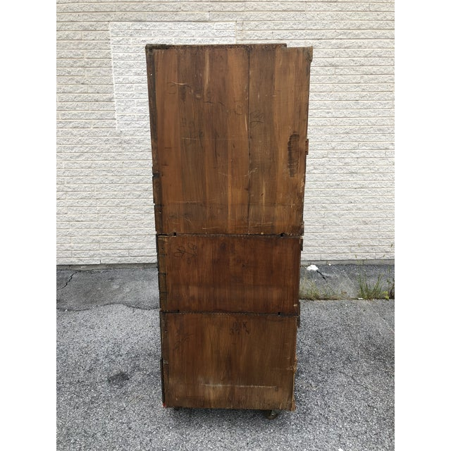 Large Vintage Industrial Wood Hardware Cabinet For Sale - Image 9 of 13