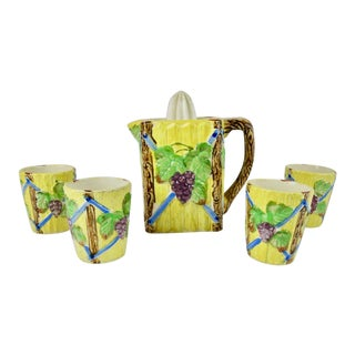 1940s Occupied Japan Lemonade Majolica Set of 5 For Sale