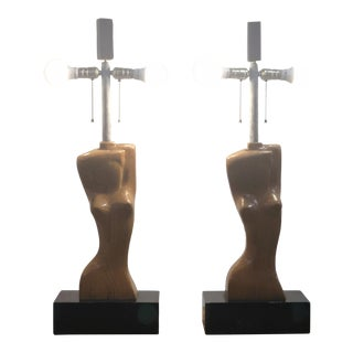 Pair of Heifetz Hand Carved Sculptural Nude Wood Lamps on Ebonized Base For Sale