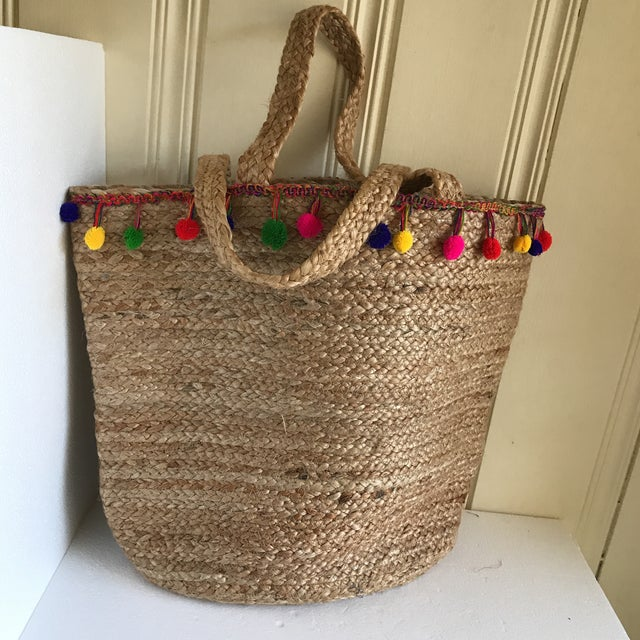 Boho Jute Large Basket Tote For Sale In Los Angeles - Image 6 of 12