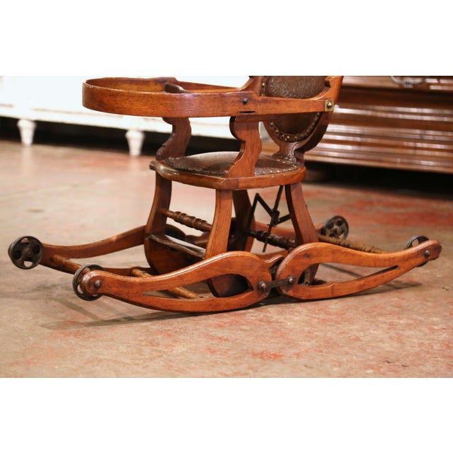 Wood 19th Century English Carved Walnut and Leather Adjustable High Chair Rocker For Sale - Image 7 of 13