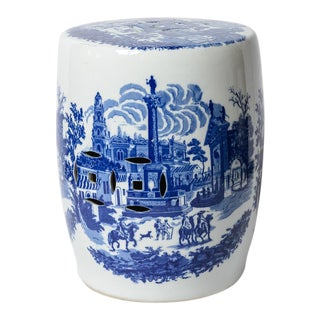 Vintage Blue & White Ceramic Garden Stool For Sale