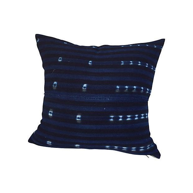 African Indigo Striped Pillows - A Pair - Image 3 of 6