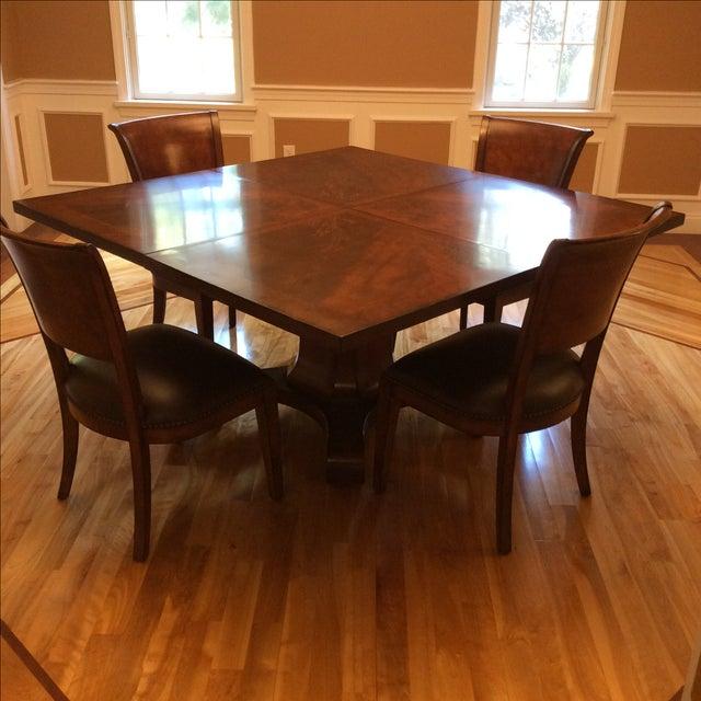 Square Walnut Pedestal Dining Set - Image 2 of 5