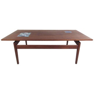 Vintage Modern Jens Risom Coffee Table With Ceramic Tile Inlay For Sale