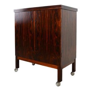 Vintage Torbjorn Afdal Rosewood Folding Bar Serving Cart For Sale