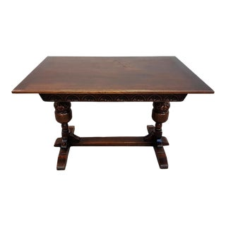 Vintage Victorian Style Refectory Table 1980s Oak Rectangle Small Dining Breakfast Table or Desk For Sale