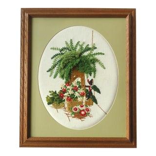 Vintage Fern & Flowers Framed Textile Art For Sale
