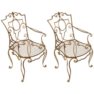 Flamboyant Jean- Charles Moreux Gilded Armchairs - a Pair For Sale