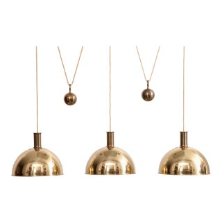 Rare Early Florian Schulz Posa Triple Counterweight Pendant Lamp in Brass