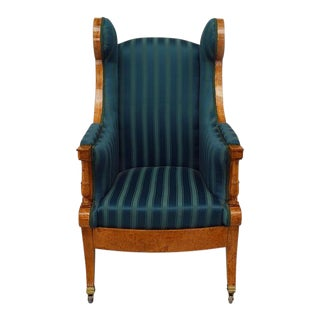 Russian Neoclassic Silk Winged Arm Chair For Sale