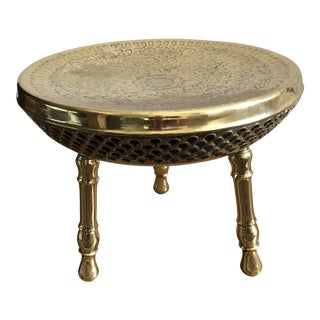 Vintage Moroccan Etched Brass Footstool For Sale