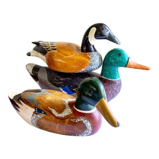 Classic Carved Vintage Decoy Wooden Ducks Mallards, Set of Three For Sale