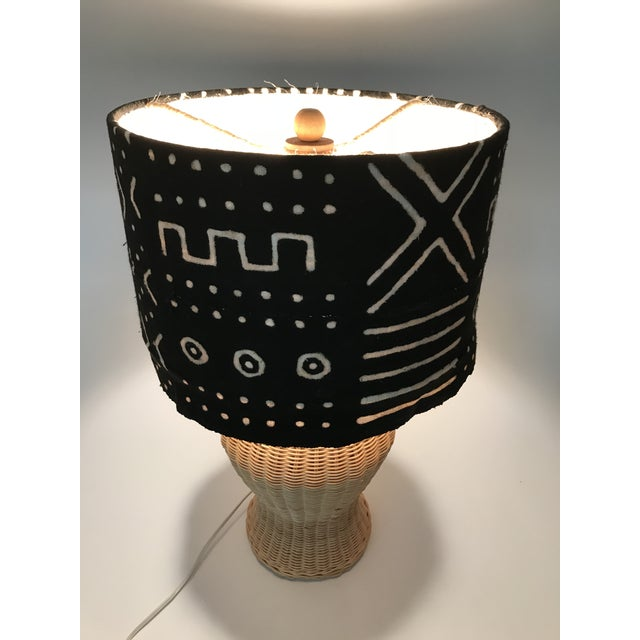 Wicker Ginger Jar Table Lamp With Mud Cloth Drum Shade For Sale - Image 11 of 13