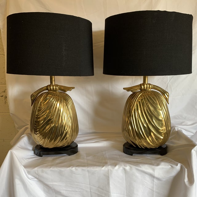 """Chapman Brass """"Sacks of Gold"""" Ribbon Table Lamps - a Pair For Sale - Image 13 of 13"""