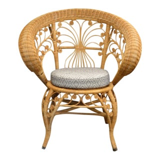 Antique Stick & Ball Wicker Chair For Sale