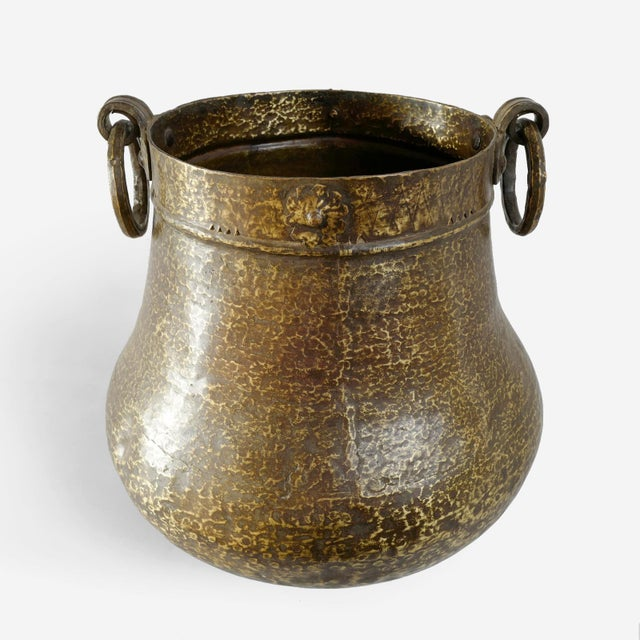 Vintage India hammered solid brass pot. Beautiful patina with signs of age and use. Great used for display or as a planter.