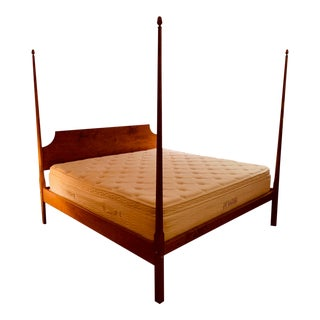 Tiger Maple King-Size Pencil Post Bed by Leonards For Sale