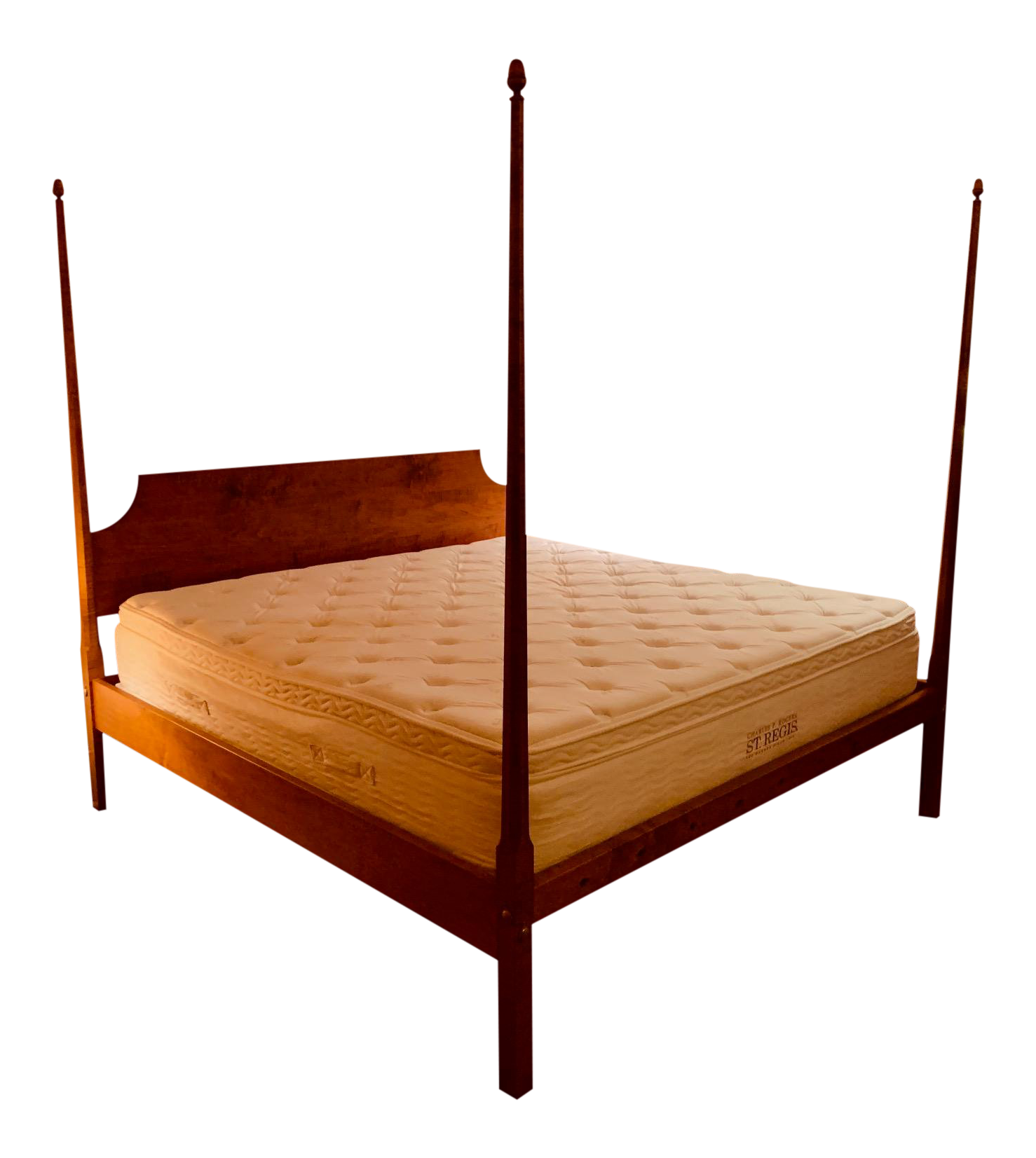 Tiger Maple King Size Pencil Post Bed By Leonards